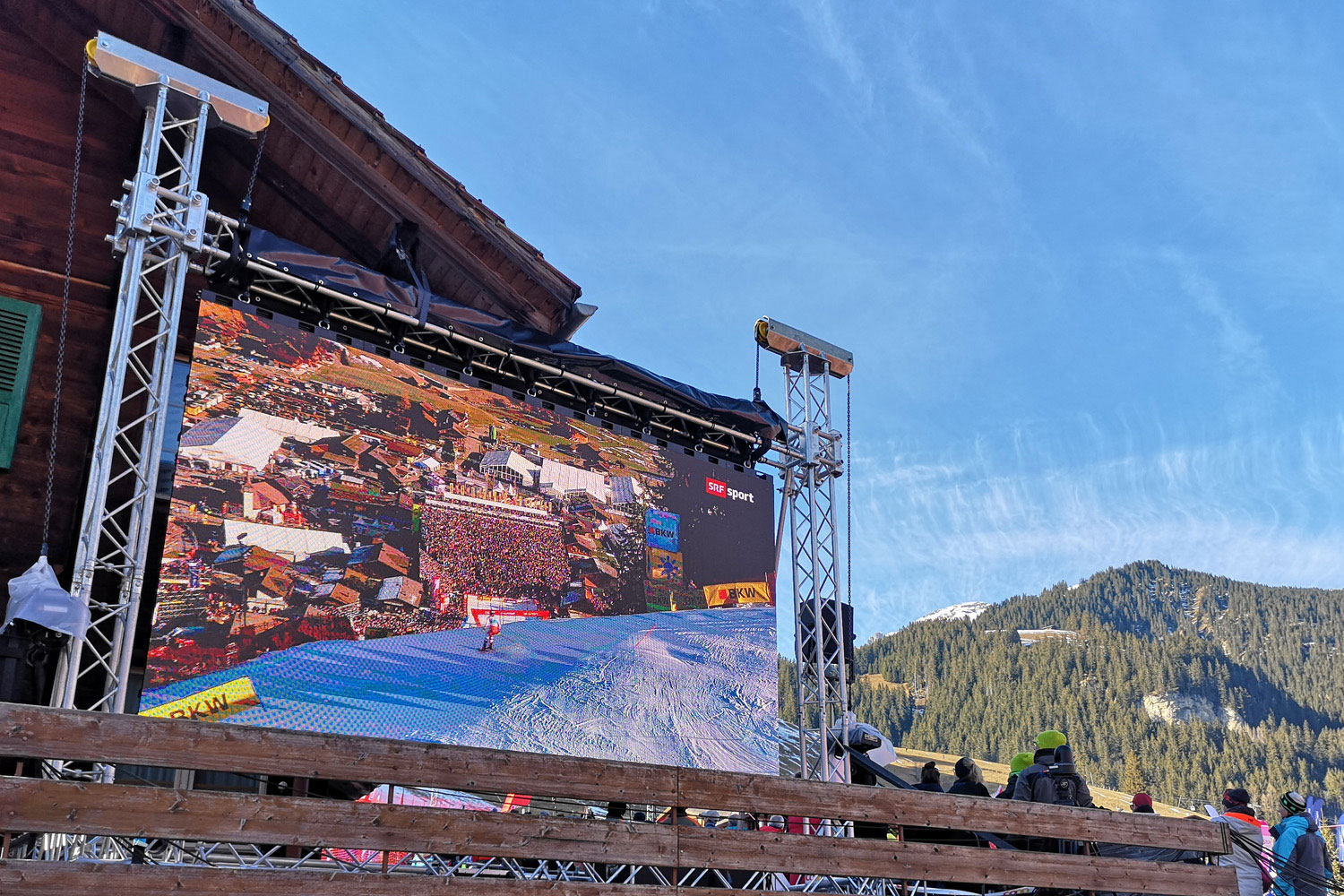 LED-Wand am FIS Snowboard Alpin Worldcup in Scuol